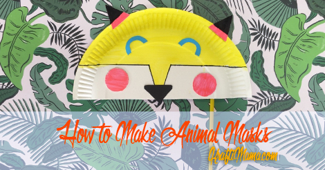 KraftiMama, Animal Masks, OMO activities for kids, Fox Paper Plate