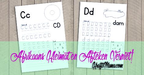 Afrikaans Alfabet C en D werksblaaie