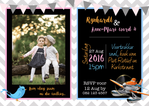 Free Printable Unisex Planes & Birds birthday invites