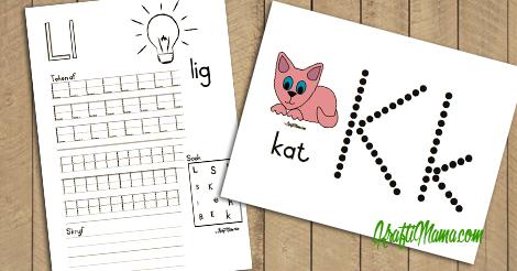 Afrikaans Alfabet J-L Werksblaaie en Kleimatte