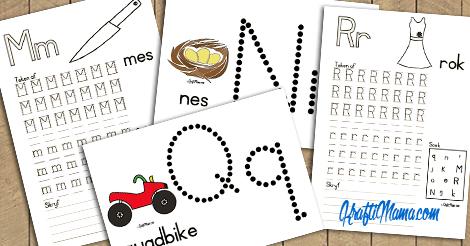 Afrikaans Alfabet M, N, Q en R Werksblaadjies en Kleimatte