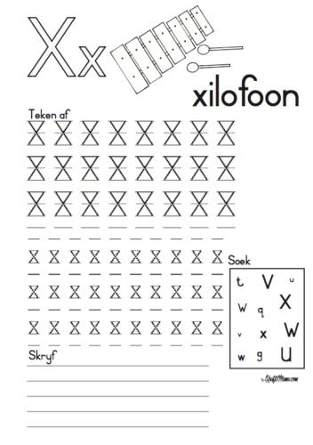 KraftiMama, Free Printables, Afrikaans Alfabet, X vir Xilofoon