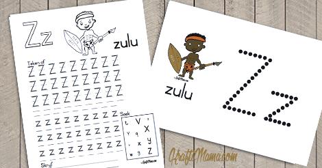 Afrikaans Alfabet, X, Y en Z Printables Free