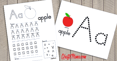 KraftiMama Free Printables, Alphabet, A for Apple