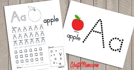 KraftiMama Free Printables, Alphabet, A for Apple