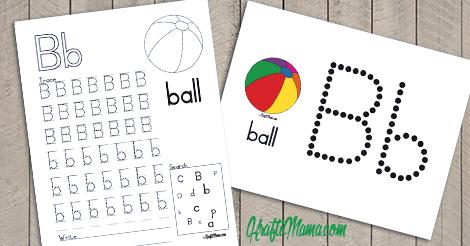 English Alphabet Printable Free B for Ball