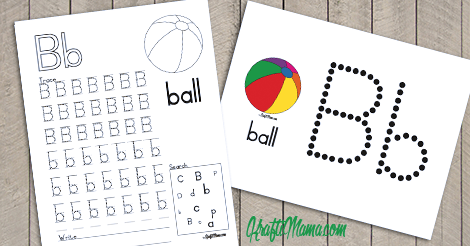 KraftiMama Free Printables, Alphabet, B for Ball
