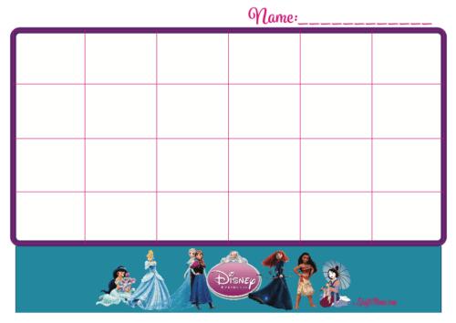 KraftiMama Free Printables, Sticker Chart, Princess