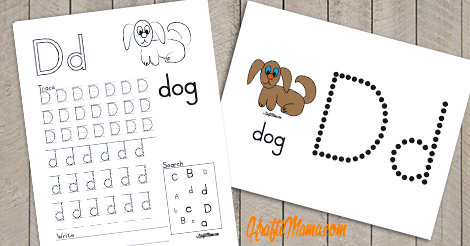KraftiMama Free Printables, Alphabet, D for Dog