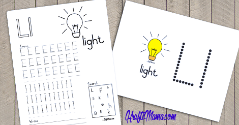 L for light Alphabet Printable FREE!