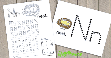 Alphabet Printable N for Nest FREE!