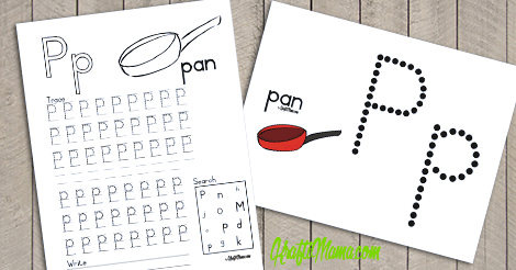 KraftiMama Free Printables, Alphabet, P for Pan