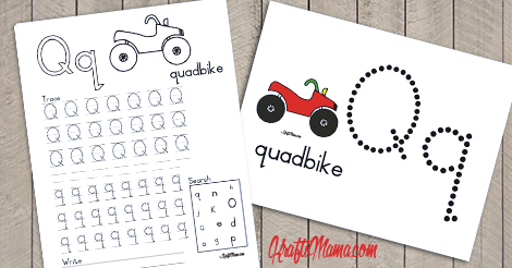 Alphabet Printables Q for Quadbike FREE!