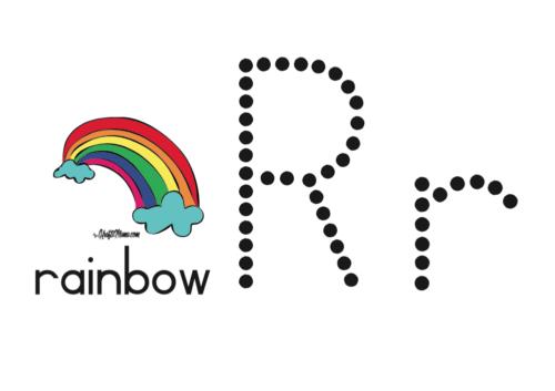 KraftiMama Free Printables, Alphabet, R for Rainbow