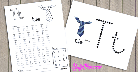 KraftiMama Free Printables, Alphabet, T for Tie
