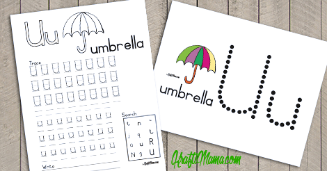 KraftiMama Free Printables, Alphabet, U for Umbrella