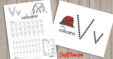 Alphabet Printable V for Volcano FREE!