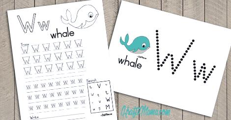Alphabet Printable W for Whale FREE!
