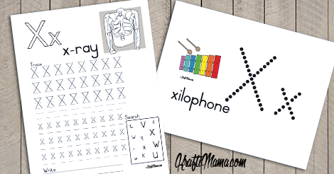 KraftiMama Free Printables, Alphabet, X for Xylophone and X-ray