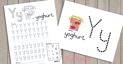 Alphabet Printable Y for Yoghurt FREE!