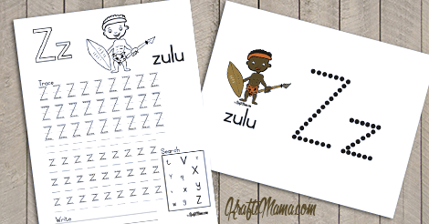 Alphabet Printable Z for Zulu FREE!