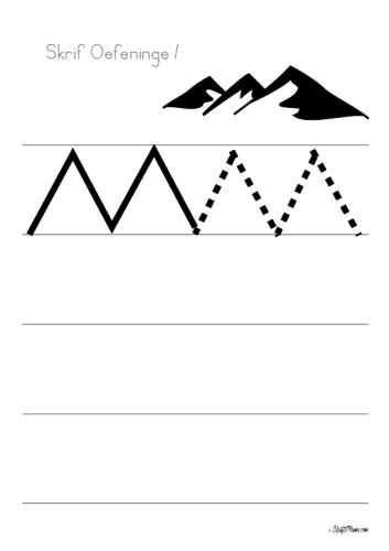 Skrif Oefeninge, Handwriting Exercises, KraftiMama, Free Printables