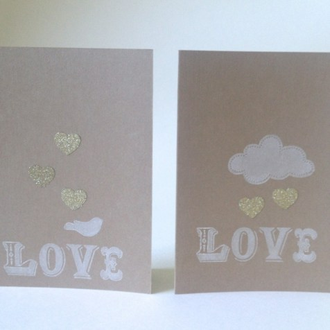 Kraft and white love note cards.