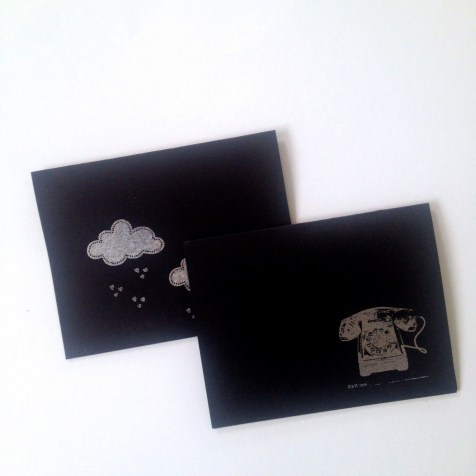 """One of my favorite rubber stamps: a cloud, Cavallini """"Call me"""" phone and same materials as mentioned above."""