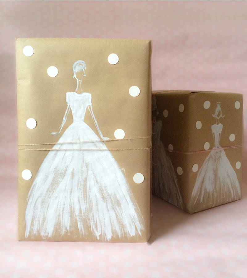 Gift Wrapping Ideas For Wedding: Make A Pretty Gift With White Ink And Kraft Paper