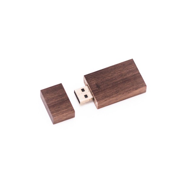 Rustic Wooden Flash Drive with Opened Cover