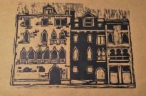 dark navy print of brown paper