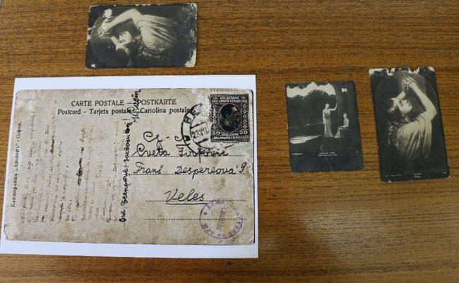 Една од картичките на која стиховите се испишани со крвта на Рацин (Фото: К. Попов)