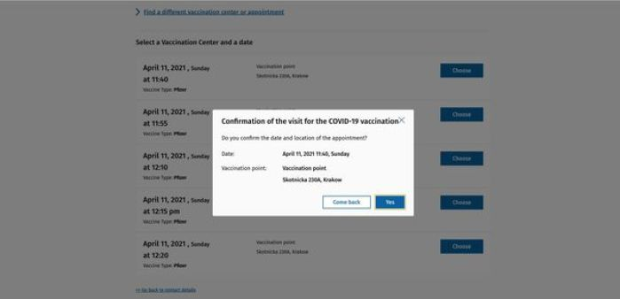 Covid vaccination appointment registration