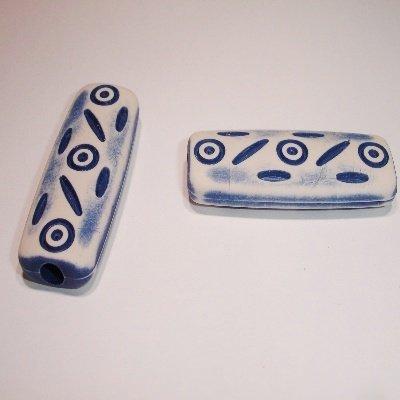 ethnic bead blauw 40x14x6 mm