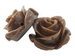 kunststof roosje 15 mm bruin