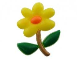 cabochon bloem geel 21x26mm