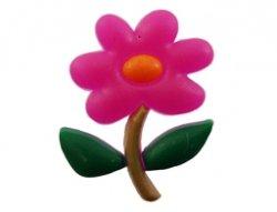 cabochon bloem roze 21x26mm