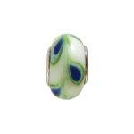 pandorastyle glas rondel 13 mm groen/blauwe