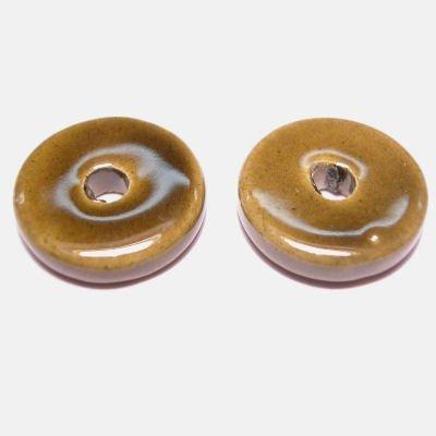 keramiek schijf  olijfgroen 14 mm