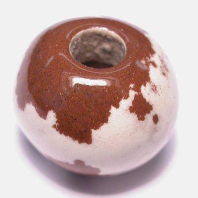 keramiek  bruin/wit 14x17 mm