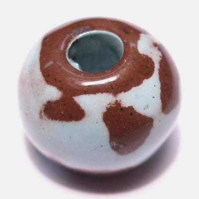 keramiek  mintgroen/bruin 14x17 mm