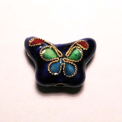 emaille parel bloem vlinder blauw 10 x 14 mm