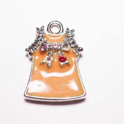 emaille hanger jurkje oranje 25mm