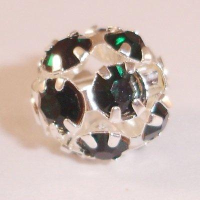 metalen strass bol 6 mm smaragd groen