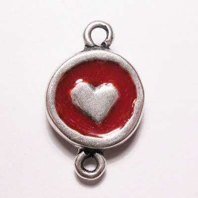 hartje 2-oog zilver rood 16 mm