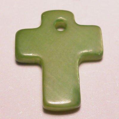 parelmoer hanger kruis groen 12 mm