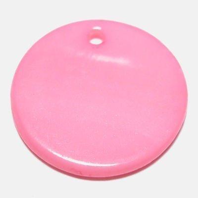 parelmoer hanger rond roze 20 mm