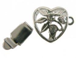 sluiting hart met steen zilver 16 x 11 mm