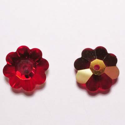swarovski schijf bloem siam 10 mm