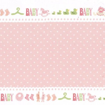 vouwkaart baby dots rose 10x30,5 cm